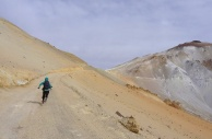 Running up to Acotango, Bolivia